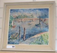 Modern British, oil on board, River landscape with boats and bridge, 33 x 36cm