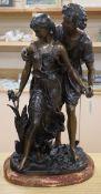 An Art Nouveau style bronze figure group height 66cm