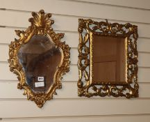 Two 18th century style gilt frame wall mirrors largest H.54cm