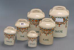 Six French kitchen jars