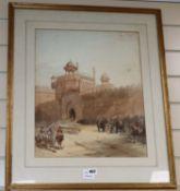19th century English School, watercolour, Entrance to Palace, Delhi, 47 x 38cm