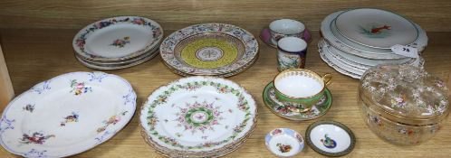 A collection of 19th century Paris porcelain plates, a late 18th century Sevres plate, an enamel box
