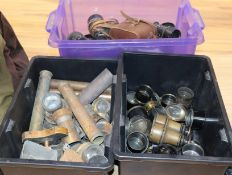 Three boxes of binocular and various lenses