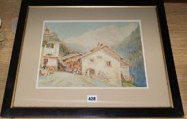 Sir Hubert James Medlycott (1841-1920), Italian Alpine landscape, signed and dated 1908,