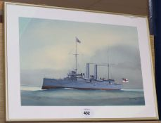 After W. Fred Mitchell, watercolour, HMS Edgar, 31 x 46cm.