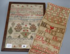 A Victorian needlework sampler, dated 1848 and one other