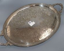 A Victorian oval two handled plated tray
