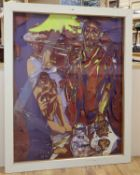 Edith Simon, mixed media collage, Figures on a boat, signed, 115 x 93cm