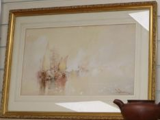 William Knox, watercolour, Shipping in the mist, signed, 29 x 49cm