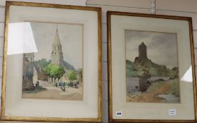 Samuel-Alfred Harding (1868-1941) pair of watercolours, Smailholm Tower and French church, signed,