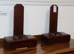 A pair of mahogany plate racks height 40cm