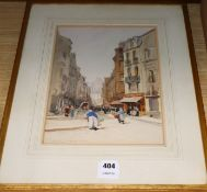 Samuel-Alfred Harding (1868-1941) watercolour, Rue St Jacques, Dieppe, Market Day, signed, 31 x