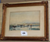 19th century English School, watercolour, Cattle in a meadow, indistinctly signed, 16 x 27cm