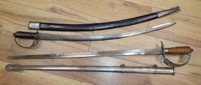 Two replica swords with scabbards