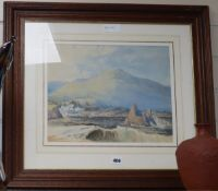 19th century English School, watercolour, Coastal scene with mountains beyond, 30 x 37cm