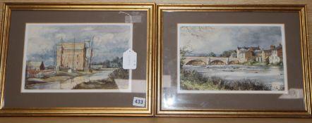Robert Luckhurst, pair of watercolours, 'Creek by Faversham' and 'Haydon Bridge, Northumberland',