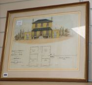 An early 19th century ink and watercolour plan for a villa to be built at Stoke in Kent, 32 x 43cm