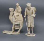 A Japanese sectional ivory camel group and a figure of a woodsman, early 20th century tallest 19cm