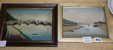 19th century English School, two oils on board, Naive views of Colchester and a stone bridge,