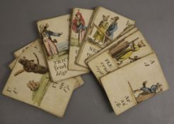 A collection of 36 19th century hand coloured alphabet cards, lacking cards for G, J and .... , some
