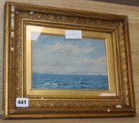 Edmund Baker (1862-1910), oil on board, Coastal landscape, signed and dated 1882, 15 x 22cm