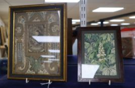 A 19th century embroidered metal thread icon and a watercolour