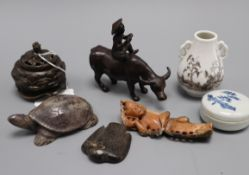 A small Chinese bronze censer, soapstone carvings, vase etc