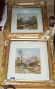 19th century English School, pair of watercolours, River landscapes, 16 x 13cm