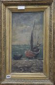 R De Galino, oil on canvas, Fishing boats on the shore, signed and dated 1889, 47 x 25cm