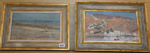 TBD, pair of oils on board, Meditteranean harbour and Children on a beach, signed, 15 x 28cm