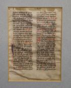 A 14th century Breviary single leaf manuscript, Use of Cologne, on vellum, 31 lines of text in two