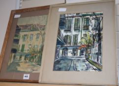 Anthony Shemroske (1921-2004), two watercolours, French house, signed, 40 x 30cm