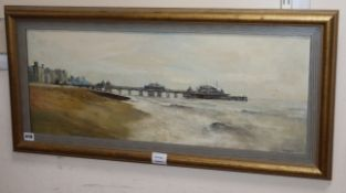 Anthony R. Cooke, oil on canvas, The West Pier, Brighton, signed and dated '61, 30 x 75cm