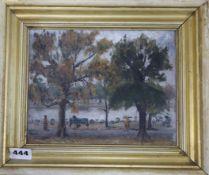 Wieslaw Pilawski (b.1916-), oil on board, Hyde Park, inscribed verso, 17 x 22cm