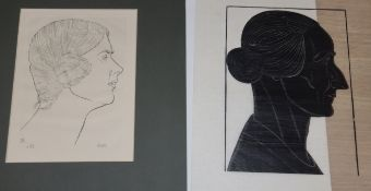 Eric Gill, engraving on ink, ElizG, wood engraving on tissue paper, Silhouette of a woman, largest