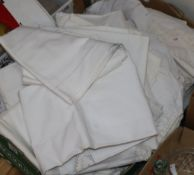 A box of mixed French linens, shirts, etc.