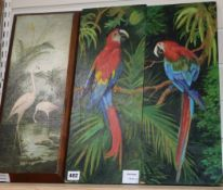 English School c.1910, oil on panel, Flamingo's, 46 x 17cm and a pair of oils on panel of parrots,