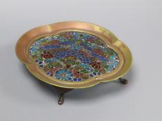 A gilt metal and plique du jour enamel dish, early 20th century height 10.5cm