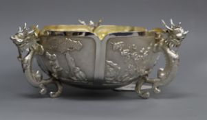 A late 19th/early 20th century Chinese Export white metal tri-handled bowl, by Hung Chong?, diameter