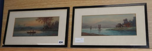 Emiko Satsuta, pair of watercolours, View of Mount Fuji and Figures on the water, signed, 12 x 29cm