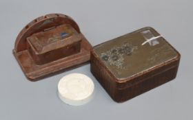 A Japanese bronze and wickerwork box, an ivory cover and a lacquer inkwell