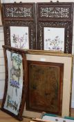 Three Chinese porcelain panels