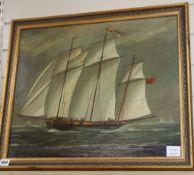 English School c.1900, oil on canvas, Schooner at sea, 44 x 54cm