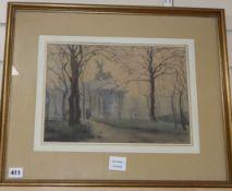 Bridget Keir (Exh.1910-40) watercolour, View of a London park, signed, 25 x 35cm