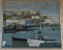 John Lawrence (b.1934), oil on board, Fishing boats in harbour, signed and dated '64, 60 x 75cm