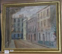Hal Woolf, oil on board, 'Cordova', signed, Woodstock Gallery label verso, 35 x 44cm