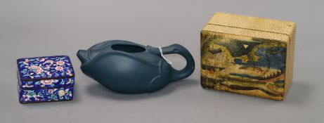 A Canton enamel box and a Yixing teapot with no cover and another box