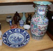 Mixed Oriental ceramics tallest 46cm