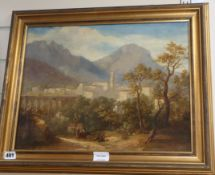 19th century English School, oil on canvas, Travellers in an Italian landscape, 36 x 36cm