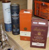 A bottle of Glen Mamoch rum cask finish single malt whisky, a bottle of Ballantines 17 year old 60